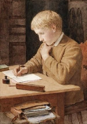 Boy Writing 1905 by Albert Anker