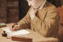 Boy Writing 1905 by Albert Anker